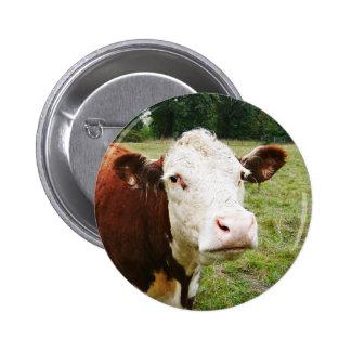 Vaca de ganado hecha frente blanca pin redondo de 2 pulgadas
