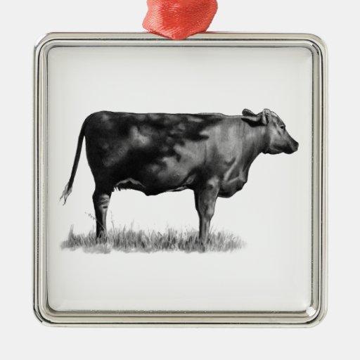 Vaca de ganado/novilla en lápiz: Realismo: Dibujo Ornamento Para Reyes Magos
