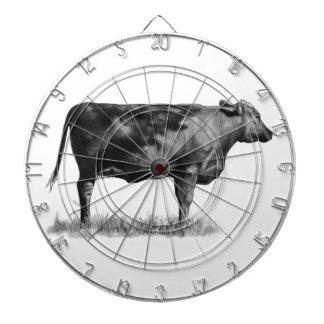 Vaca de ganado novilla en lápiz Realismo Dibujo Tablero Dardos