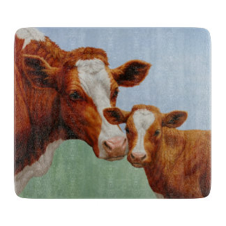 Vaca de Guernesey de la madre y becerro lindo Tabla Para Cortar
