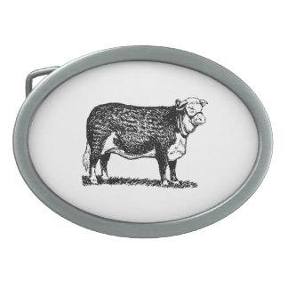Vaca de Hereford Hebillas Cinturón Ovales
