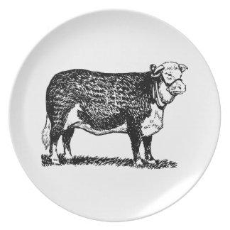 Vaca de Hereford Plato Para Fiesta