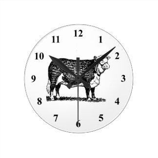 Vaca de Hereford Reloj Redondo Mediano