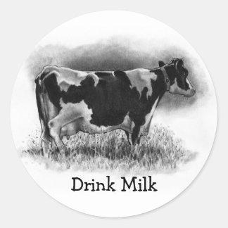 Vaca de Holstein: Dibujo de lápiz original: Etiqueta Redonda