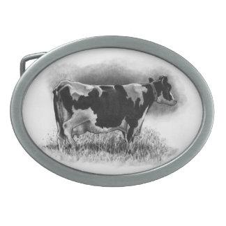Vaca de Holstein: Dibujo de lápiz: Realismo: Leche Hebilla De Cinturón Oval