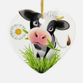 Vaca de Holstein en hierba Adorno Navideño De Cerámica En Forma De Corazón