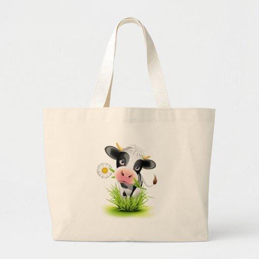 Vaca de Holstein en hierba Bolsa De Mano