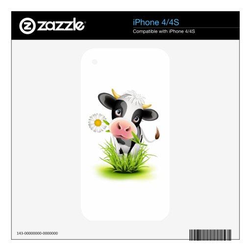 Vaca de Holstein en hierba iPhone 4S Calcomanía