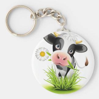 Vaca de Holstein en hierba Llavero Redondo Tipo Pin