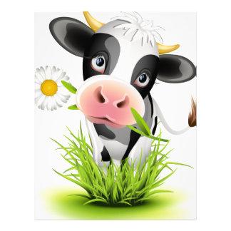 Vaca de Holstein en hierba Membrete A Diseño