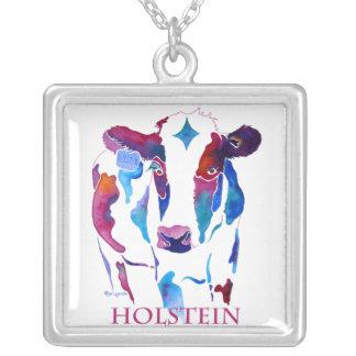 Vaca de Holstein en púrpura y azules Collar Plateado