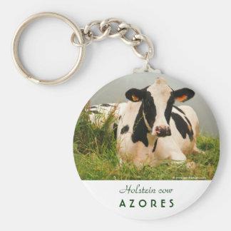 Vaca de Holstein Llavero Redondo Tipo Pin