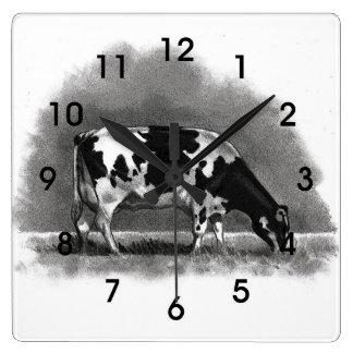 Vaca de Holstein que pasta: Arte original del lápi Reloj Cuadrado