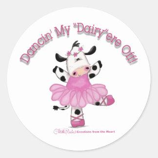Vaca de la bailarina pegatina redonda