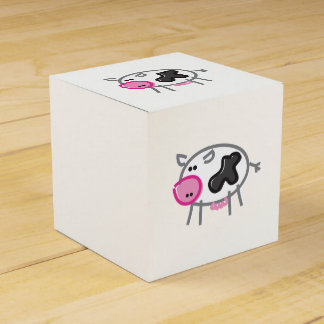 Vaca de la diversión en blanco caja para regalos de fiestas
