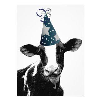 ¡Vaca de la fiesta de cumpleaños o del fiesta de f Invitaciones Personales