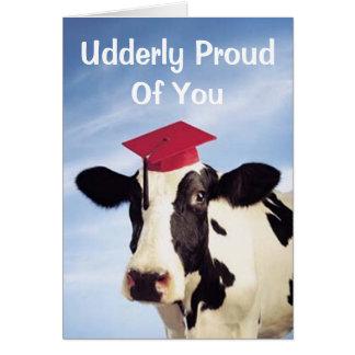 Vaca de la graduación, Udderly orgulloso de usted Tarjeta De Felicitación