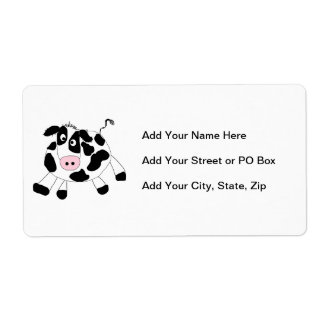 Vaca de la granja etiqueta de envío