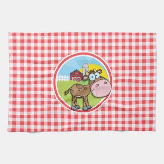Vaca de la granja Guinga roja y blanca Toalla De Cocina