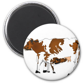 Vaca de la madre con el becerro imán redondo 5 cm