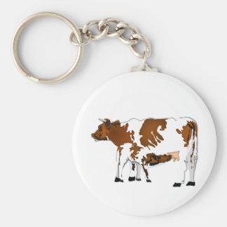 Vaca de la madre con el becerro llavero redondo tipo pin