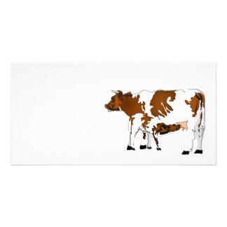 Vaca de la madre con el becerro tarjetas con fotos personalizadas