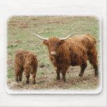 Vaca de la montaña con el becerro 9Y316D-048 Tapete De Ratones