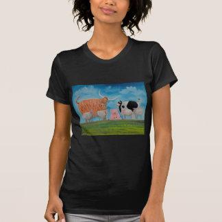 vaca de la montaña del cerdo de las ovejas camiseta