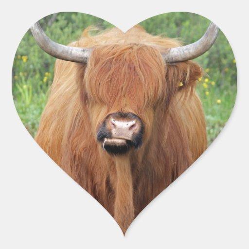 Vaca de la montaña pegatina en forma de corazón
