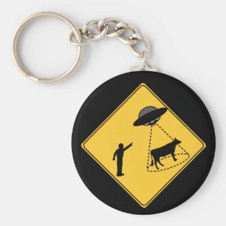Vaca de la muestra de camino y UFO Llavero Redondo Tipo Pin