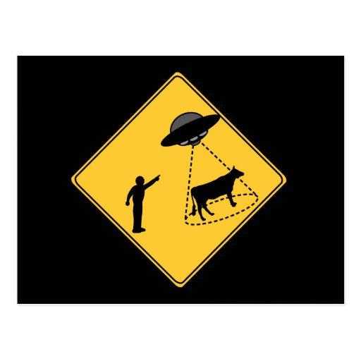 Vaca de la muestra de camino y UFO Tarjeta Postal
