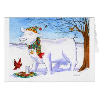 Vaca de la nieve del día de fiesta tarjeta pequeña