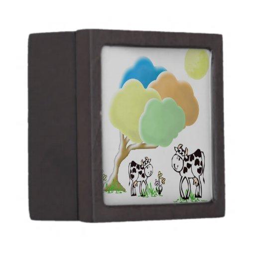 Vaca de la primavera y caja de regalo superior del cajas de regalo de calidad