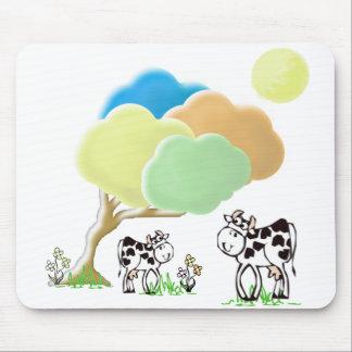 Vaca de la primavera y cojín de ratón del becerro tapetes de ratones