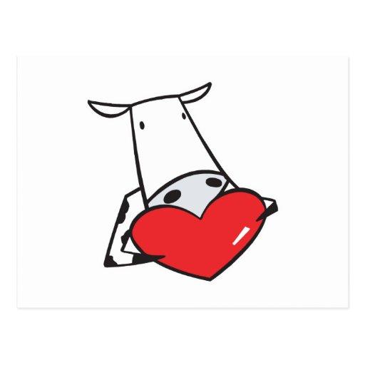 vaca de la tarjeta del día de San Valentín del cor Tarjetas Postales