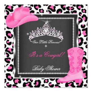 Vaca de la tiara de la vaquera del rosa del chica invitación 13,3 cm x 13,3cm