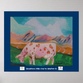 Vaca de leche de la fresa de Stephen R. Impresiones