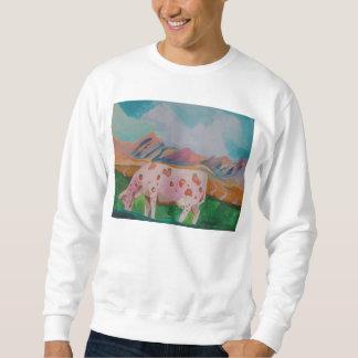 Vaca de leche de la fresa de Stephen R. Pull Over Sudadera