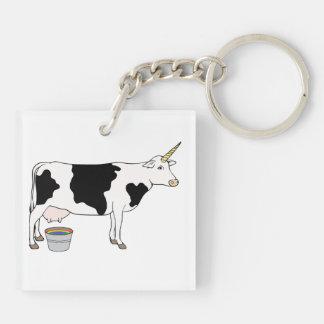 Vaca de leche mágica de la lechería del unicornio llavero cuadrado acrílico a doble cara