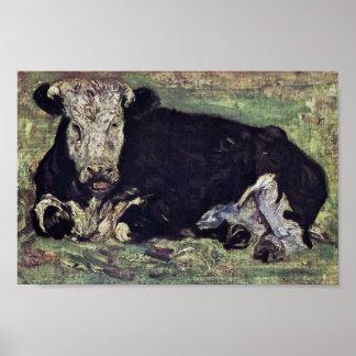 Vaca de mentira de Vincent van Gogh Póster