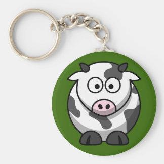 Vaca de ordeño linda en llavero de la hierba verde