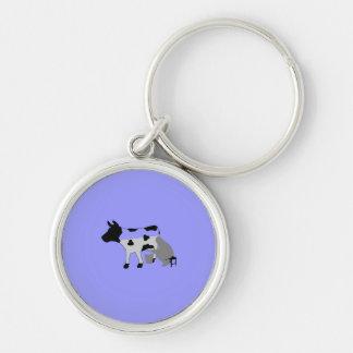 Vaca de ordeño - semillena llavero redondo plateado
