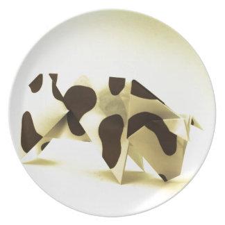 Vaca de Origami Plato De Cena