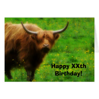 Vaca de pelo largo de la montaña con los cuernos tarjeta de felicitación