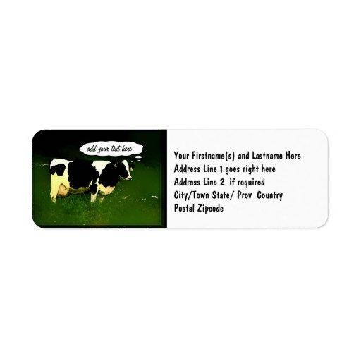 Vaca de pensamiento divertida etiquetas de remite