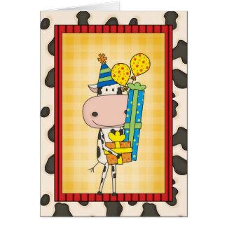 Vaca de rima tonta del cumpleaños occidental tarjeta de felicitación