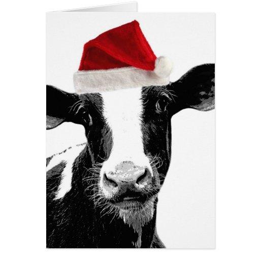 Vaca de Santa - vaca lechera que lleva el gorra de Tarjeta De Felicitación
