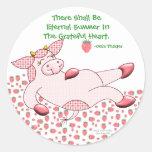 """Vaca del acebo, """"agradecido para el verano """" etiqueta redonda"""