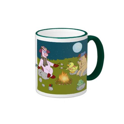 """Vaca del acebo, """"fuego de la amistad """" tazas de café"""