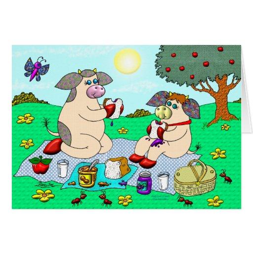"""Vaca del acebo y vaca de la belleza, """"comida campe felicitaciones"""